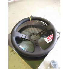 NRG Racing Leather Steering Carbon Center