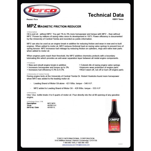 Torco MPZ Magnetic Friction Reducer 120 Oz